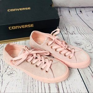 Converse Pink Suede Leather Rose Gold Shoes 6.5